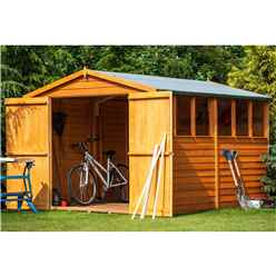 10ft x 8ft  (2.99m x 2.39m) - Dip Treated Overlap - Apex Garden Shed - 6 Windows - Double Doors - 10mm Solid OSB Floor