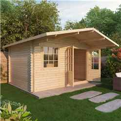 4m x 3m EDEN Log Cabin (Double Glazing) + Free Floor & Felt & Safety Glass (44mm)