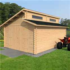 4m x 5.6m Garage Log Cabin (34mm T&G) - Double Glazing