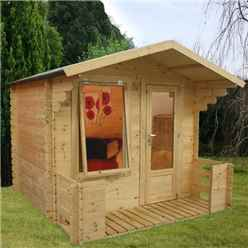 "2.50m x 2.72m Vicky Log Cabin Including Verandah (2' 7"" 0.8m) - (19mm T&G) + + Free Floor & Felt & Safety Glass"