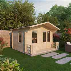 "3.29m x 3.78m Vicky Log Cabin Including Verandah (2' 7"" 0.8m) - (19mm T&G) + + Free Floor & Felt & Safety Glass"