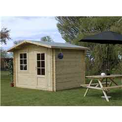 3m x 2.4m BLOSSOM Log Cabin (Single Glazing) + Free Floor & Felt & Safety Glass (34mm)