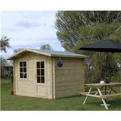 3m x 2.4m BLOSSOM Log Cabin (Double Glazing) + Free Floor & Felt & Safety Glass (34mm)