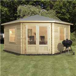 4m x 4m OHIO Corner Log Cabin (Double Glazing) with Large Windows + Free Floor & Felt & Safety Glass (44mm)