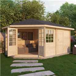 5m x 3m OHIO Corner Log Cabin (Single Glazing) + Free Floor & Felt & Safety Glass (44mm) ***LEFT