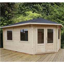5m x 3m KANSAS Corner Log Cabin (Single Glazing) + Free Floor & Felt & Safety Glass (34mm) - Right Door