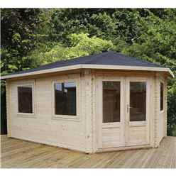 5m x 3m KANSAS Corner Log Cabin (Double Glazing) + Free Floor & Felt & Safety Glass (34mm) - Right Door