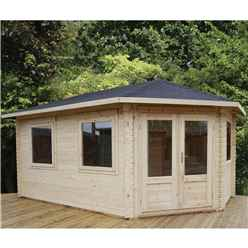 5m x 3m KANSAS Corner Log Cabin (Single Glazing) + Free Floor & Felt & Safety Glass (44mm) - Right Door