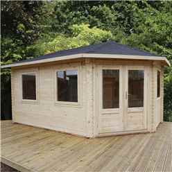 5m x 3m KANSAS Corner Log Cabin (Double Glazing) + Free Floor & Felt & Safety Glass (44mm) - Right Door