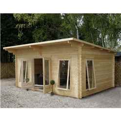 4m x 5.2m Modern Log Cabin (Single Glazing) + Free Floor & Felt & Safety Glass (44mm)