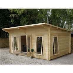 4m x 5.2m Modern Log Cabin (Double Glazing) + Free Floor & Felt & Safety Glass (44mm)