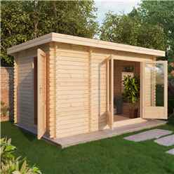 4m x 2.5m Zen Log Cabin (Double Glazing) + Free Floor & Felt & Safety Glass (44mm T&G)