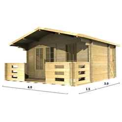 4m x 3m PREMIER AURON Log Cabin - Double Glazing - 44mm Wall Thickness