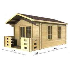 3m x 4m PREMIER VALDISERE Log Cabin - Double Glazing - 70mm Wall Thickness