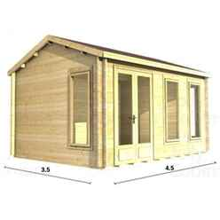 4.5m x 3.5m PREMIER MEGEVE Log Cabin - Double Glazing - 44mm Wall Thickness