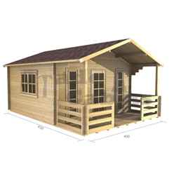 4m x 3m PREMIER MADRID Log Cabin - Double Glazing - 44mm Wall Thickness