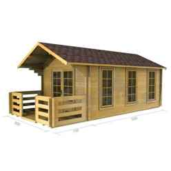 3m x 5m Premier Edel Log Cabin - Double Glazing - 70mm Wall Thickness