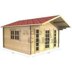 4m x 4m PREMIER KAY Log Cabin - Double Glazing - 44mm Wall Thickness