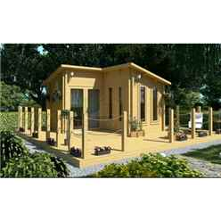 4m x 4m PREMIER ESPACE Log Cabin - Double Glazing - 70mm Wall Thickness