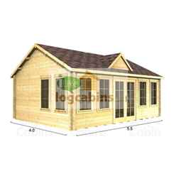 5.5m x 4.0m PREMIER CORDON Log Cabin - Double Glazing - 70mm Wall Thickness