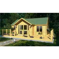 7m x 5m Premier Savoie Log Cabin - Double Glazing - 70mm Wall Thickness