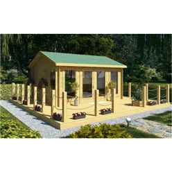 4.5m x 3.5m PREMIER VALMOREL Log Cabin - Double Glazing - 44mm Wall Thickness