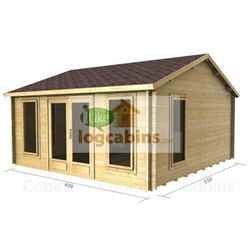 4.5m x 5.5m PREMIER HUEZ Log Cabin - Double Glazing - 70mm Wall Thickness