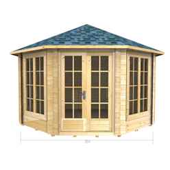 3.5m x 3.5m PREMIER AROLLA Log Cabin - Double Glazing - 70mm Wall Thickness