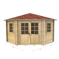 3m x 3m PREMIER ROBELLA Log Cabin - Double Glazing - 44mm Wall Thickness