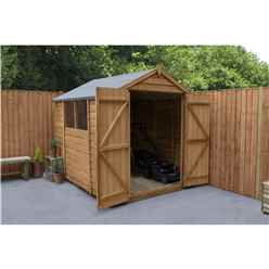 8ft x 6ft Double Door Overlap Apex Wooden Garden Shed + 2 Windows