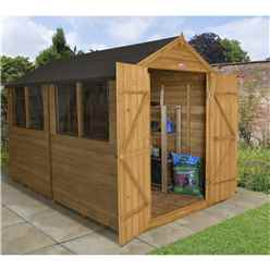 10ft x 8ft (3.1m x 2.6m) Double Door Overlap Apex Wooden Garden Shed + 4 Windows