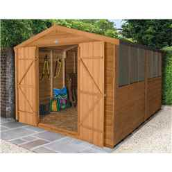 12ft x 8ft (3.7m x 2.6m) Double Door Overlap Apex Wooden Garden Shed + 6 Windows