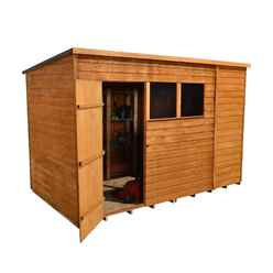 10ft x 6ft Single Door Overlap Pent Wooden Garden Shed + 2 Windows