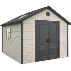 **PRE-ORDER: DUE BACK IN STOCK 11TH SEPTEMBER** 11ft x 13.5ft Life Plus Single Entrance Plastic Apex Shed with Plastic Floor + 2 Windows  (3.37m x 4.13m)