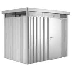 8ft x 6ft Heavy Duty Metal Silver Metallic Shed With Single Door (2.75m x 1.95m)