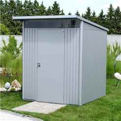 6FT X 7FT MEDIUM METALLIC SILVER HEAVY DUTY METAL SHED (1.8M X 2.2M)