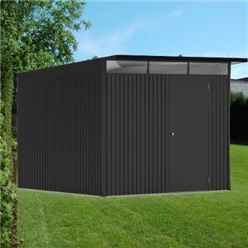 8ft x 10ft Ex Large Dark Grey Heavy Duty Metal Shed (2.6m x 3m)
