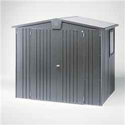 8FT X 5FT HEAVY DUTY DARK GREY METALLIC METAL SHED (2.44M X 1.56M)