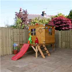 8ft x 7ft Tongue & Groove Playhouse Tower + 3 Windows And Slide