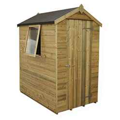 6x4 Pressure Treated Tongue and Groove Apex Shed - Assembled