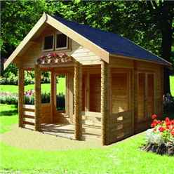 3.89m x 4.49m Apex Log Cabin - 44mm Wall Thickness