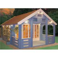 3.89m x 5.39m Log Cabin with Veranda - 44mm Wall Thickness