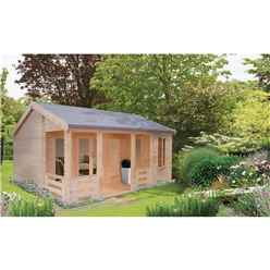 5.49m x 5.95m Log Cabin Including Veranda - 70mm Wall Thickness