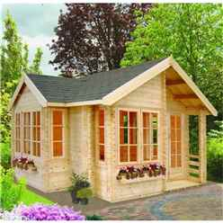 5.05m x 5.05m Traditional Styled Log Cabin - 44mm Wall Thickness