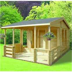 3.89m x 6.39m Log Cabin - Includes Impressive Veranda - 70mm Wall Thickness