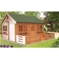 3.89m x 5.49m Log Cabin with 3 Rooms - 34mm Wall Thickness
