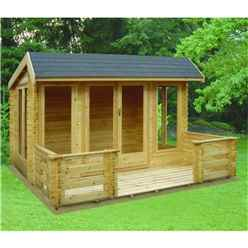 3.69m x 3.69m Versatile Apex Log Cabin - 44mm Wall Thickness