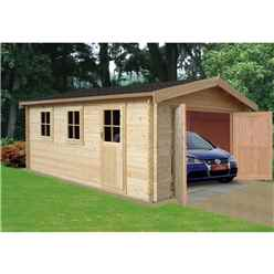 3.80m x 5.39m Log Cabin/Workshop - 70mm Wall Thickness