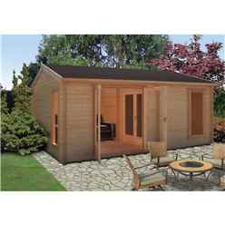 3.89m x 5.27m Contemporary Log Cabin - 70mm Wall Thickness