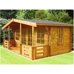 3.59m x 3.89m Log Cabin with Double Doors - 44mm Wall Thickness